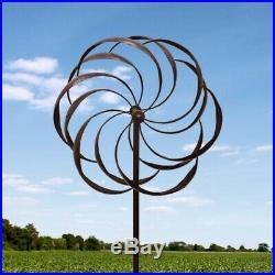 Garden Pinwheel Dancing Windmill Yard Spinner Decor Art Iron Petals Sculpture