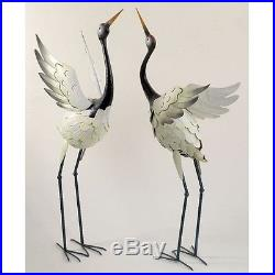 Garden Statue 2 Crane Birds Set Sculpture Metal Art Outdoor Lown Yard Decor