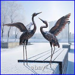 Garden Statue Outdoor Metal Heron Crane Yard Art Sculpture Lawn Patio Backyard