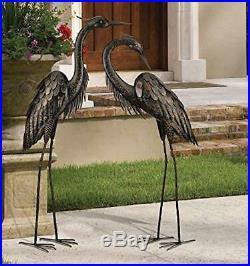 Garden Statues And Sculptures 2 Metal Cranes Bird Heron Yard Art Decor Pond Two