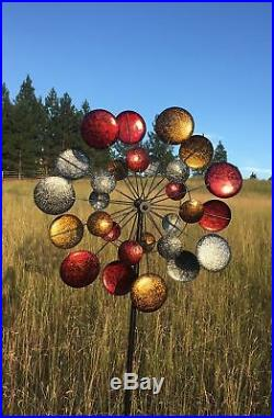 Garden Wind Spinner Kinetic Quadruple Sculpture Metal Art Outdoor Yard Decor NEW