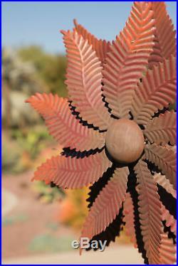 Garden Wind Spinner Metal Kinetic Rustic Flower Lawn Yard 6'f Windmill Sculpture