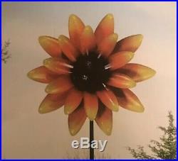 Garden Wind Spinner Yard Decor Sunflower Kinetic Metal Art Windmill Sculpture