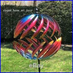 Garden Windmill Yard Wind Spinner Kinetic Cosmic Sphere Wind Spinner Sculpture