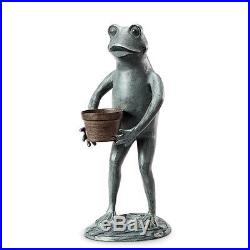 Gardener Green Thumb Frog Garden Yard Sculpture Metal Statue, 19.5''H