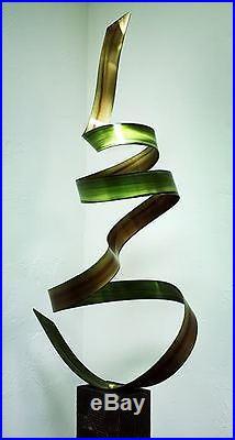Hand Painted Green Indoor Metal Yard Art Sculpture Summer Fields by Jon Allen