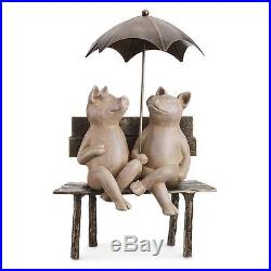 Happy 2 Pigs under Umbrella Metal Garden Pool Yard Art Decor Statue Sculpture