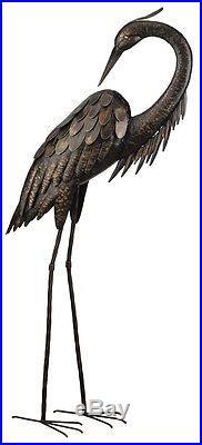 Heron Crane Large Metal Bird Statues Garden Patio Yard Standing Art Sculpture