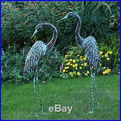 Heron Crane Statue Sculpture Garden Bird Yard Art Decor Lawn Solar Outdoor Patio