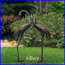 Heron Crane Statues Set of 2 Yard Garden Coastal Lawn Decor Metal Sculpture Bird