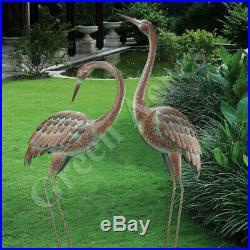 Heron Pair Sculptures Lawn Coastal Yard Decor Garden Crane Statues Metal Art New