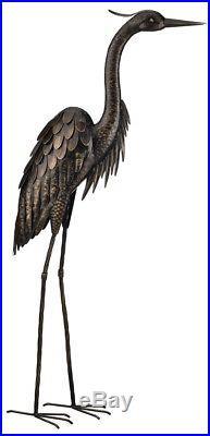 Heron Standing Yard Bronze Statue Sculpture Bird Decor Outdoor Home Stand Patio