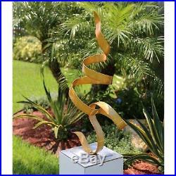 Jon Allen Modern Metal Garden Sculpture Yard Art Gold Indoor Outdoor Table Decor