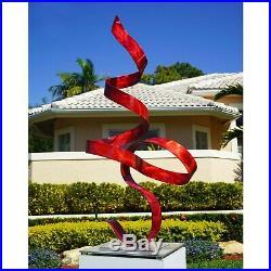 Jon Allen Modern Metal Garden Sculpture Yard Art Red Indoor Outdoor Table Decor