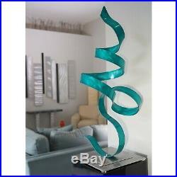 Jon Allen Modern Metal Garden Sculpture Yard Art Teal Indoor Outdoor Table Decor