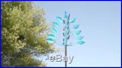 Kinetic Wind Spinner Large Metal Peacock Yard Sculpture Modern Garden Art 7' Ft