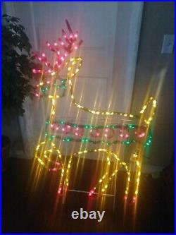 LARGE Vintage Mr Christmas Deluxe Reindeer Light Sculpture Yard Decor 52 x 33