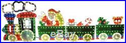 LB International 4-Piece Holographic Lighted Motion Train Set Christmas Yard Art