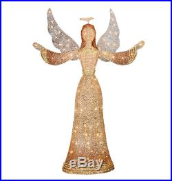 LED Lighted Angel Sculpture Christmas Glittered 3D Yard Decoration Greeter Prop