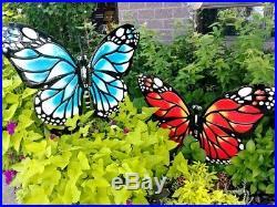 Large 3' Metal Butterfly Decorative Garden Yard Art Trio Outdoor Decorations