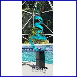 Large Beautiful Metal Sculpture Aqua Blue Indoor Outdoor Yard Decor by Jon Allen