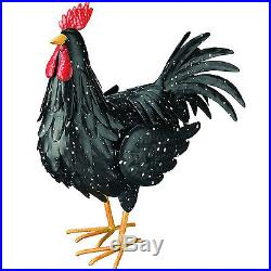 Large Black Rooster Figurine Home Decor Yard Sculpture Chicken Farm Display New