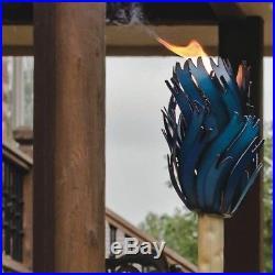 Large Blue Agave Cactus Tiki Torch Sculpture Metal Desert Garden Yard Decor