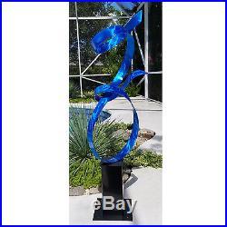 Large Blue Metal Modern Abstract Indoor/Outdoor Yard Sculpture by Jon Allen