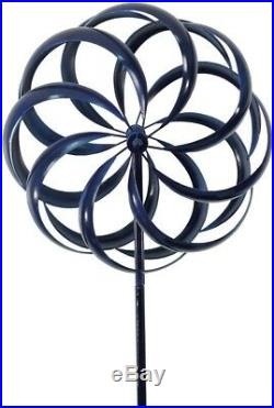 Large Blue Metal Wind Spinner Kinetic Whirligig Yard Garden Stake Sculpture 75