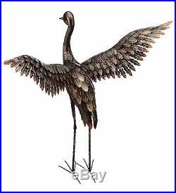 Large Bronze Patina Flying Crane Pair Sculpture Heron Bird