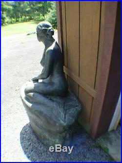 Large Heavy Metal Nude Yard Sculpture Statue