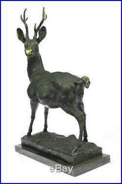 Large Metal Bronze Deer Stag Elk Outdoor Yard Sculpture, Handcrafted Figurine