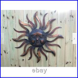 Large Metal Sun Wall Decor Hanging Deck Patio Yard Garden Fence Art Bronze 35