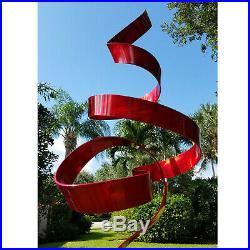 Large Modern Metal Sculpture Abstract Red Silver Yard Art Garden Decor Jon Allen