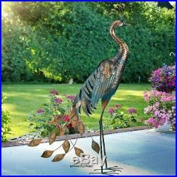 Large Peacock Garden Statue Metal Rustic Blue Bird Sculpture Outdoor Yard Decor