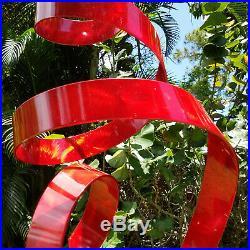 Large Red Metal Garden Sculpture Modern Indoor Outdoor Yard Art Decor Jon Allen