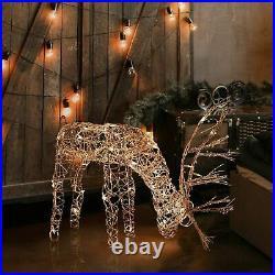 Led Lighted Reindeer Family Sculpture Deer Buck Doe Outdoor Christmas Yard Set