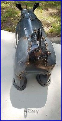 Lg 25 Recycled Rustic Iron Metal Ranch Yard Art Rhino Animal Figure