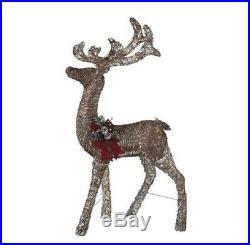 Lighted Brown Rattan Buck Deer Sculpture Outdoor Christmas Decoration Yard Decor