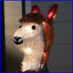 Lighted Festive Llama With Scarf Sculpture Pre Lit Outdoor Christmas Decor Yard