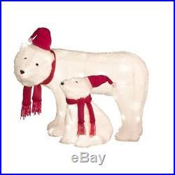 Lighted Fuzzy White Polar Bear Sculpture Set PreLit Outdoor Christmas Decor Yard