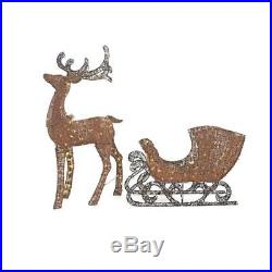 Lighted Grapevine Reindeer & Sleigh Set Outdoor Christmas Yard Lawn Decoration