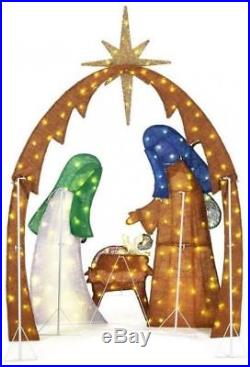 Lighted Nativity Scene Outdoor Yard Christmas Holiday Decoration 175 LEDs 76in H
