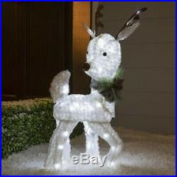 Lighted White Twinkling Reindeer Sculpture Pre Lit Outdoor Christmas Decor Yard