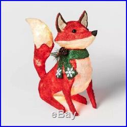 Lighted Woodland Fox Sculpture Pre Lit Outdoor Christmas Decor Yard Display