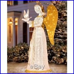 Lize Size Lighted Christmas Angel With Dove Outdoor Yard Decor Winged Sculpture
