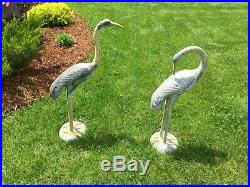 Lovely Vintage Graceful Large Crane Pair Sculpture Garden Metal Yard Art India