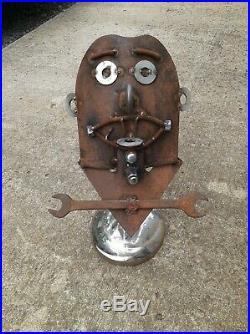METAL YARD ART tribal mask, handmade, 18 tall