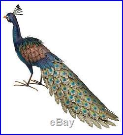 Majestic Pretty Peacock Metal Statue Outdoor Sculpture Bird Yard Garden Art 37L