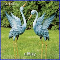 Metal Blue Heron Statue Sculpture Garden Bird Set Of 2 Yard Art Decor Outdoor
